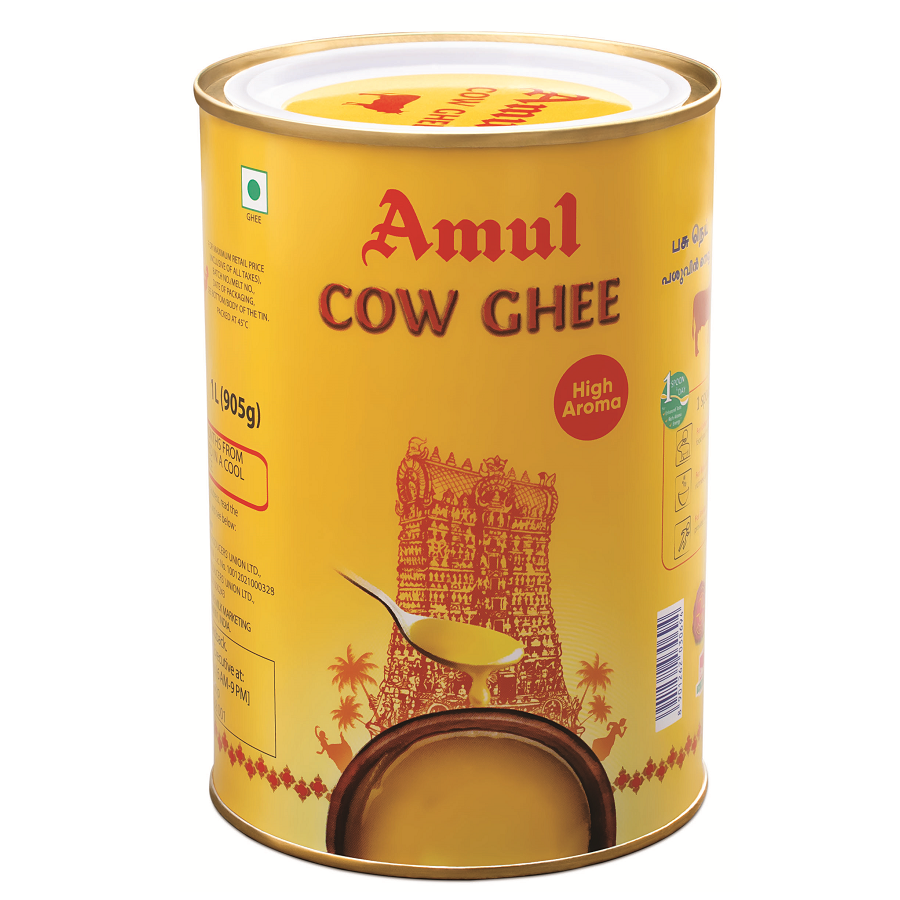 Amul Cow Ghee Yellow Can 1L (905g)